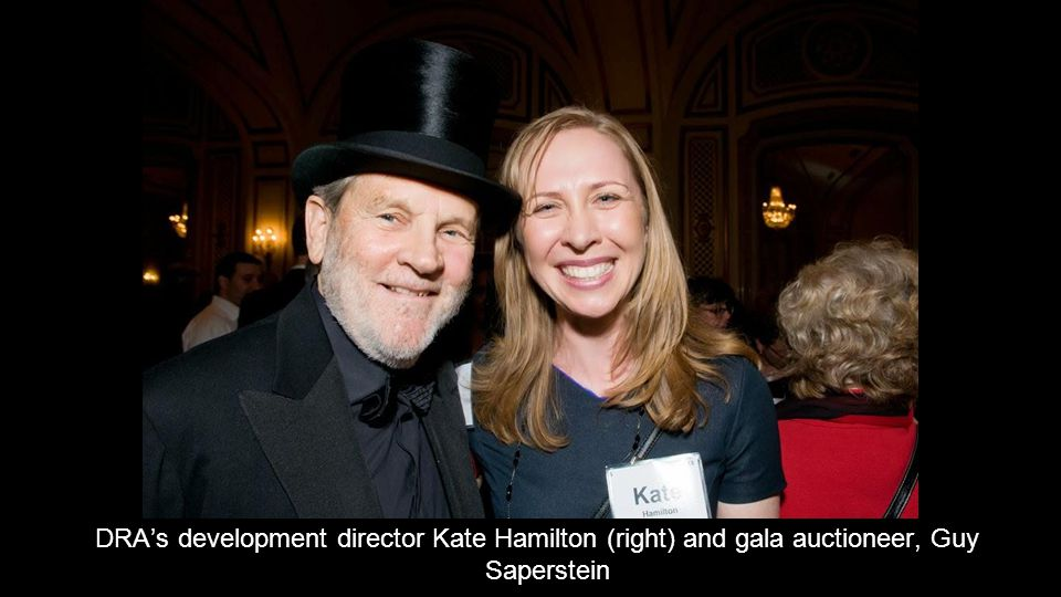 DRA's development director Kate Hamilton (right) and gala auctioneer, Guy Saperstein