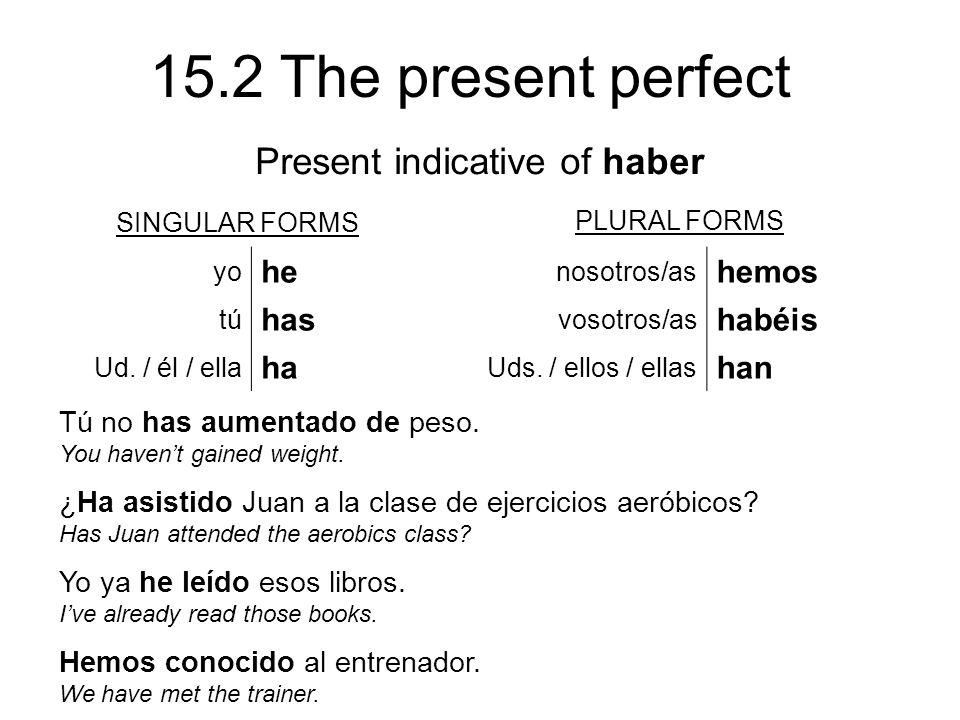 15.2 The present perfect SINGULAR FORMS PLURAL FORMS yo he nosotros/as hemos tú has vosotros/as habéis Ud.