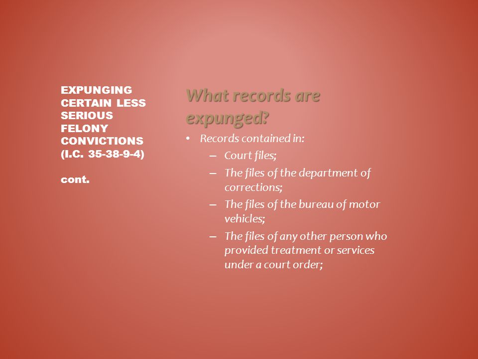 What records are expunged? Records contained in: – Court files; – The files of the department of corrections; – The files of the bureau of motor vehic
