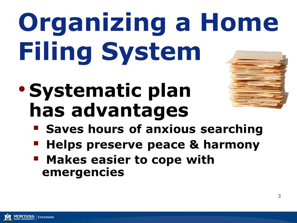 Organizing a Home Filing System Systematic plan has advantages  Saves hours of anxious searching  Helps preserve peace & harmony  Makes easier to cope with emergencies 3
