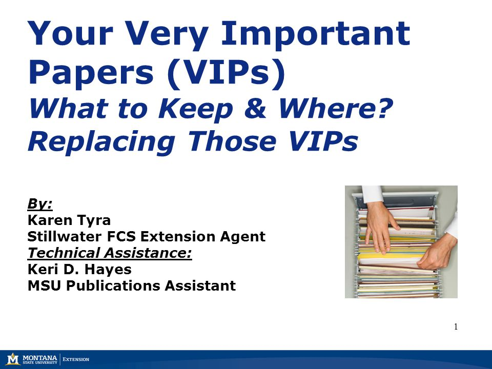 Your Very Important Papers (VIPs) What to Keep & Where? Replacing Those VIPs By: Karen Tyra Stillwater FCS Extension Agent Technical Assistance: Keri