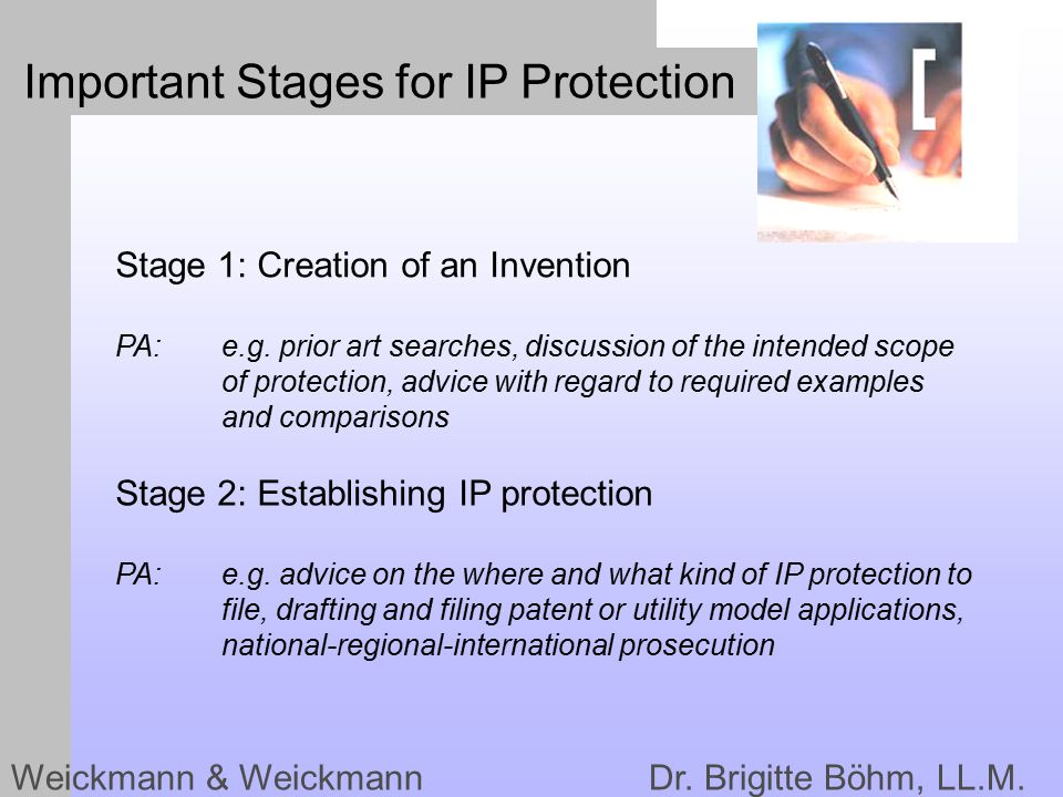 Important Stages for IP Protection Weickmann & Weickmann Dr.
