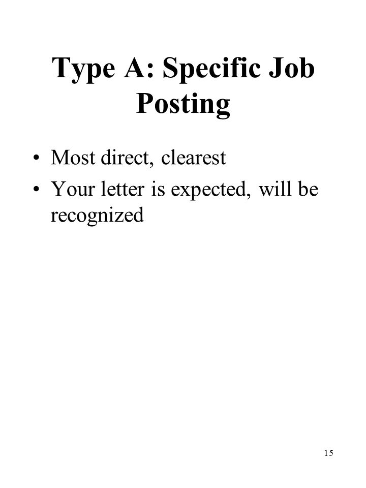 15 Type A: Specific Job Posting Most direct, clearest Your letter is expected, will be recognized
