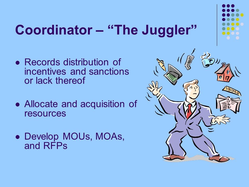 "Coordinator – ""The Juggler"" Records distribution of incentives and sanctions or lack thereof Allocate and acquisition of resources Develop MOUs, MOAs,"