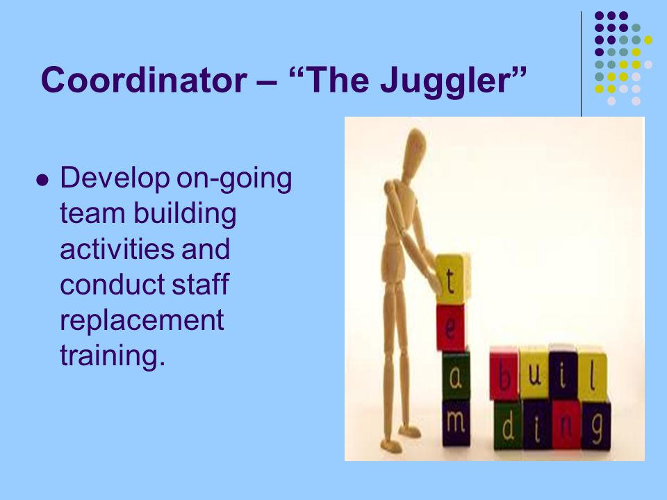 Coordinator – The Juggler Develop on-going team building activities and conduct staff replacement training.