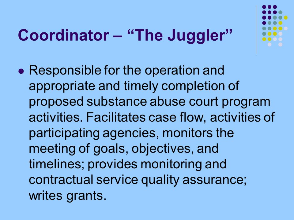 "Coordinator – ""The Juggler"" Responsible for the operation and appropriate and timely completion of proposed substance abuse court program activities."