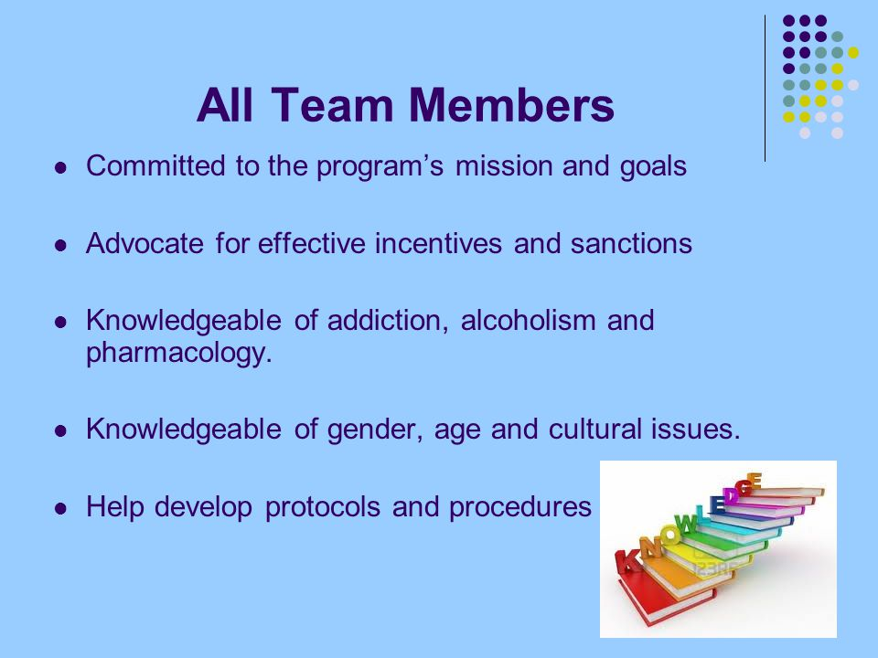 All Team Members Committed to the program's mission and goals Advocate for effective incentives and sanctions Knowledgeable of addiction, alcoholism and pharmacology.