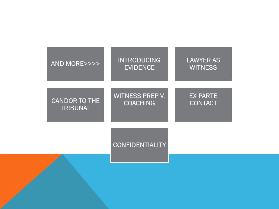 AND MORE>>>> INTRODUCING EVIDENCE LAWYER AS WITNESS CANDOR TO THE TRIBUNAL WITNESS PREP V.