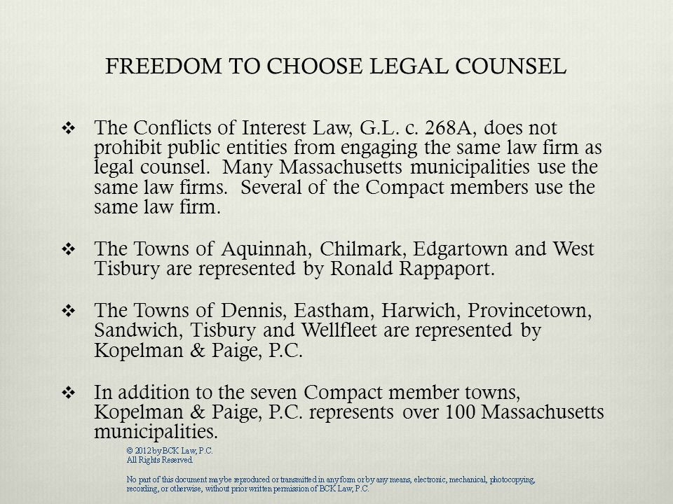 THE CONFLICTS OF INTEREST LAW, G.L.c. 268A  The Conflicts of Interest Law, G.L.