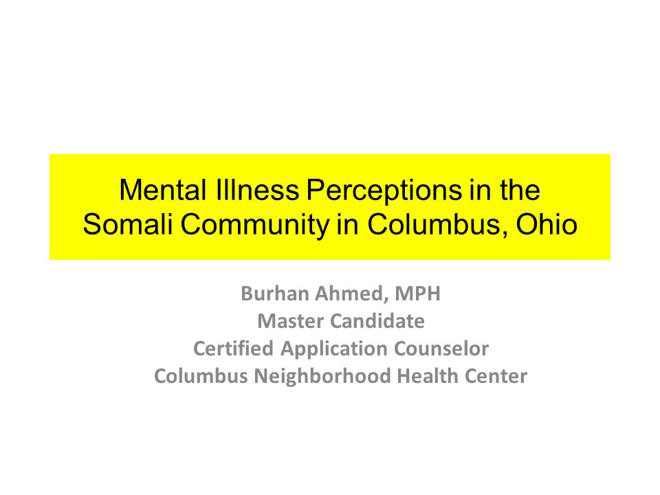 Ohio Department of Mental Health and Addiction Services' (OhioMHAS) Somali Mental Health Services