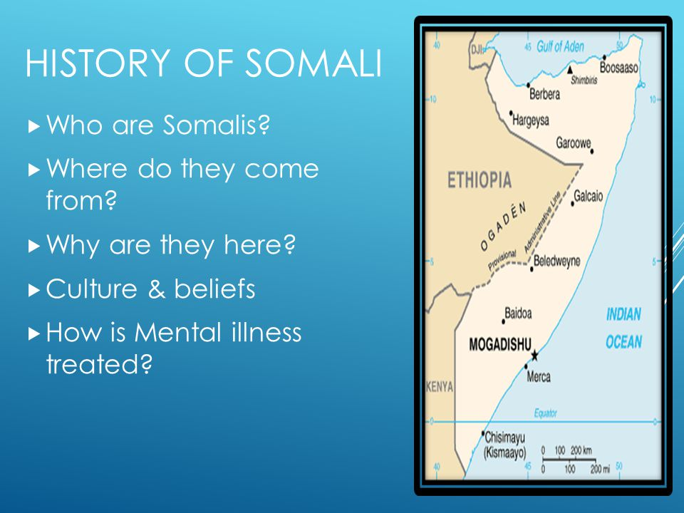 HISTORY OF SOMALI  Who are Somalis?  Where do they come from?  Why are they here?  Culture & beliefs  How is Mental illness treated?