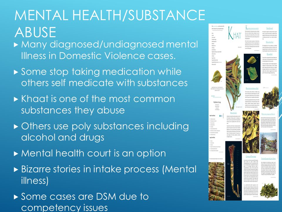 MENTAL HEALTH/SUBSTANCE ABUSE  Many diagnosed/undiagnosed mental Illness in Domestic Violence cases.  Some stop taking medication while others self