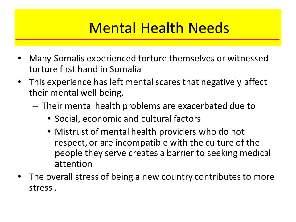 Mental Health Needs Many Somalis experienced torture themselves or witnessed torture first hand in Somalia This experience has left mental scares that