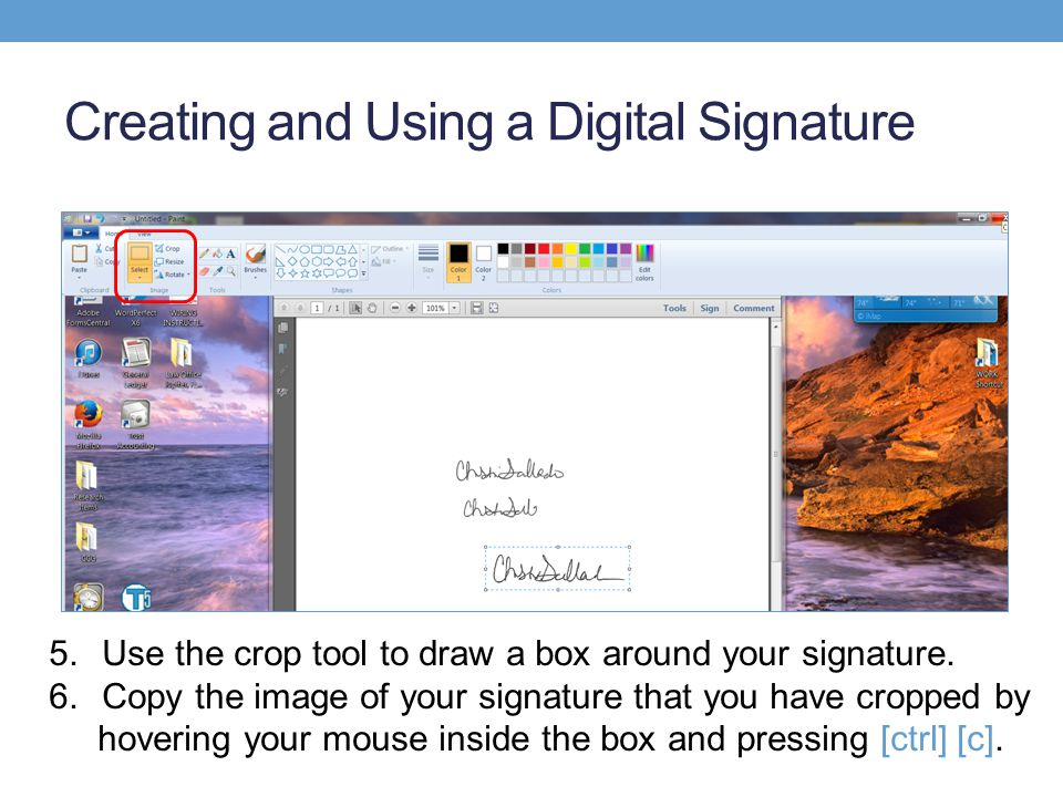 Creating and Using a Digital Signature 5.Use the crop tool to draw a box around your signature.