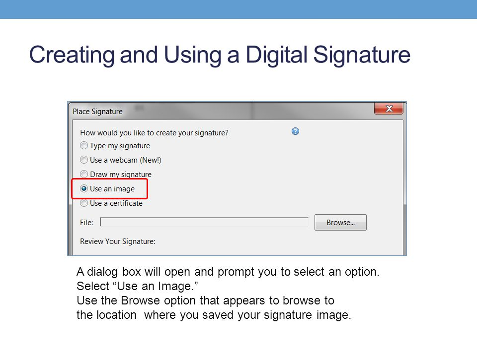 Creating and Using a Digital Signature A dialog box will open and prompt you to select an option.