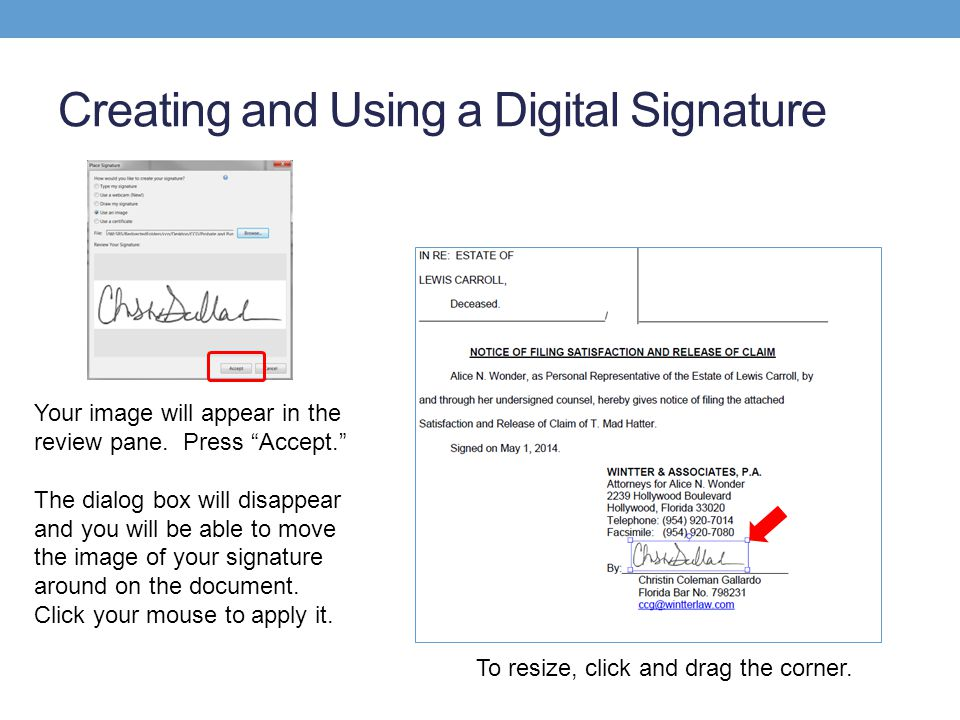 Creating and Using a Digital Signature Your image will appear in the review pane.