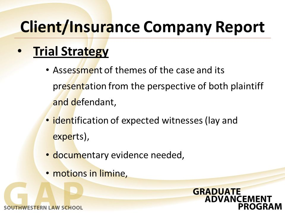Client/Insurance Company Report Trial Strategy Assessment of themes of the case and its presentation from the perspective of both plaintiff and defendant, identification of expected witnesses (lay and experts), documentary evidence needed, motions in limine,