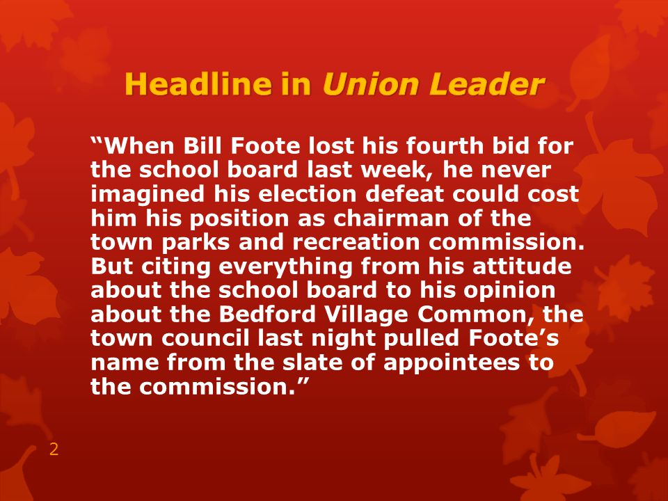 April 2009 - Foote's sues Town of Bedford & 4 individual council members.
