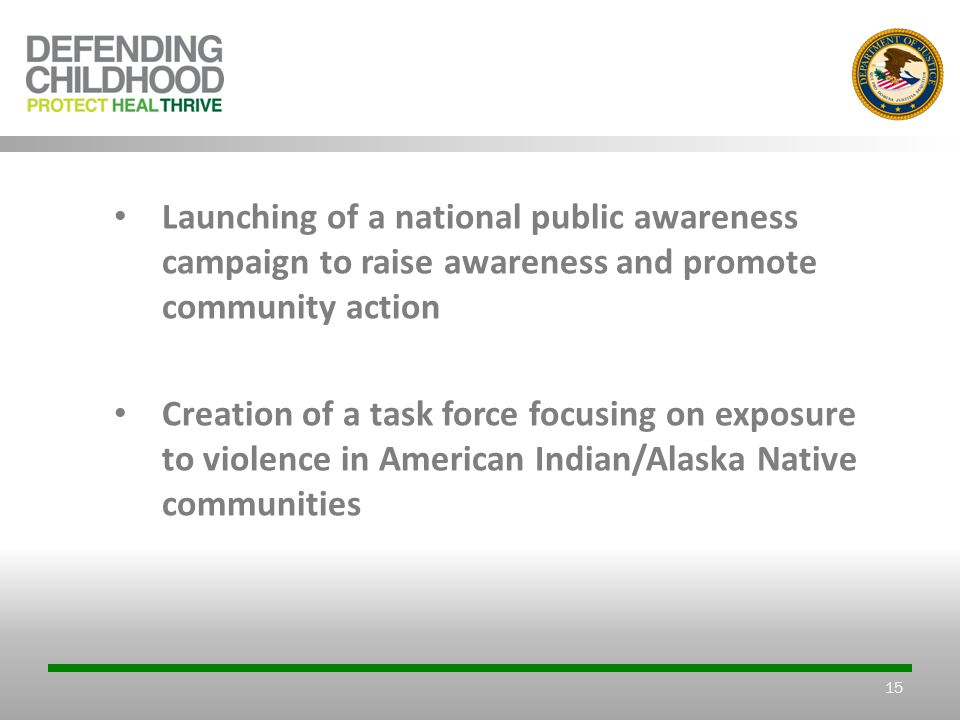 15 Launching of a national public awareness campaign to raise awareness and promote community action Creation of a task force focusing on exposure to violence in American Indian/Alaska Native communities