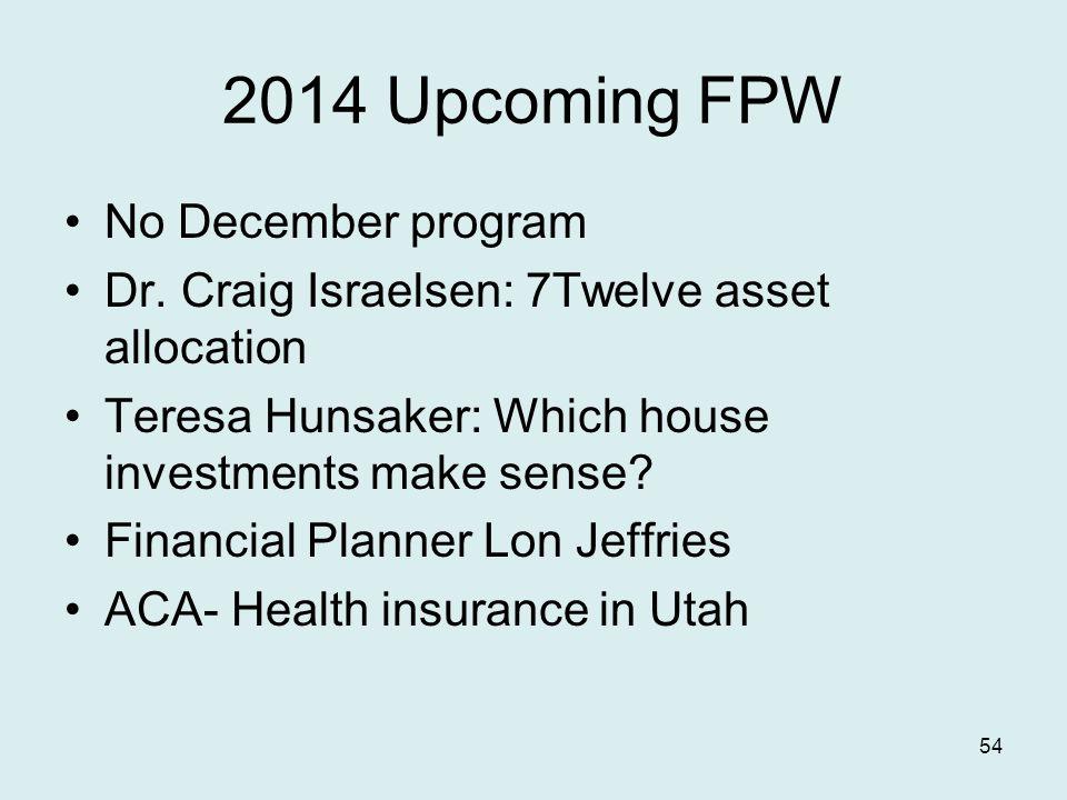 2014 Upcoming FPW No December program Dr.
