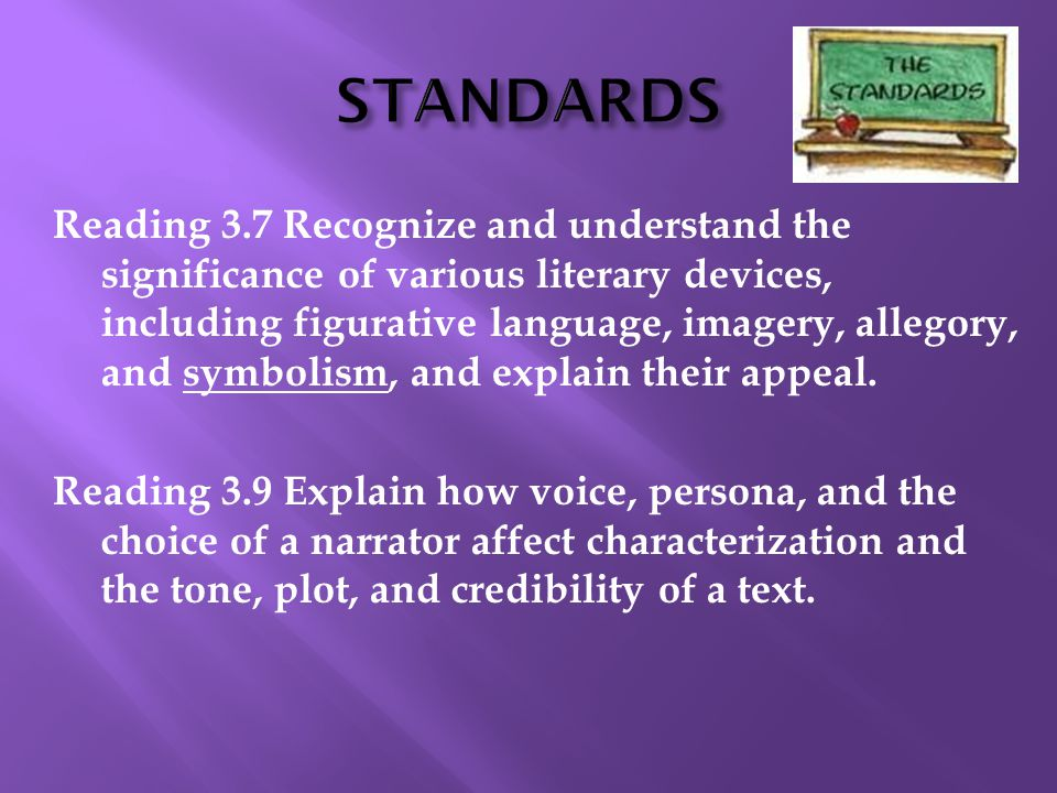 Reading 3.7 Recognize and understand the significance of various literary devices, including figurative language, imagery, allegory, and symbolism, an