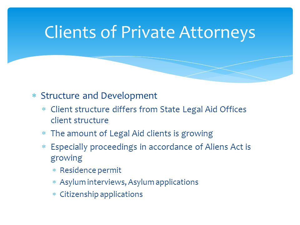  Structure and Development  Client structure differs from State Legal Aid Offices client structure  The amount of Legal Aid clients is growing  Es