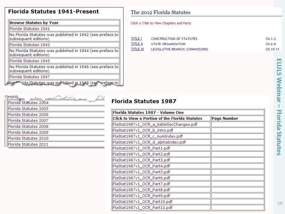 19 ELULS Webinar – Florida Statutes