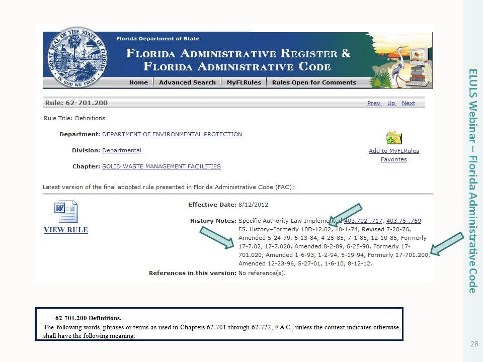 28 ELULS Webinar – Florida Administrative Code