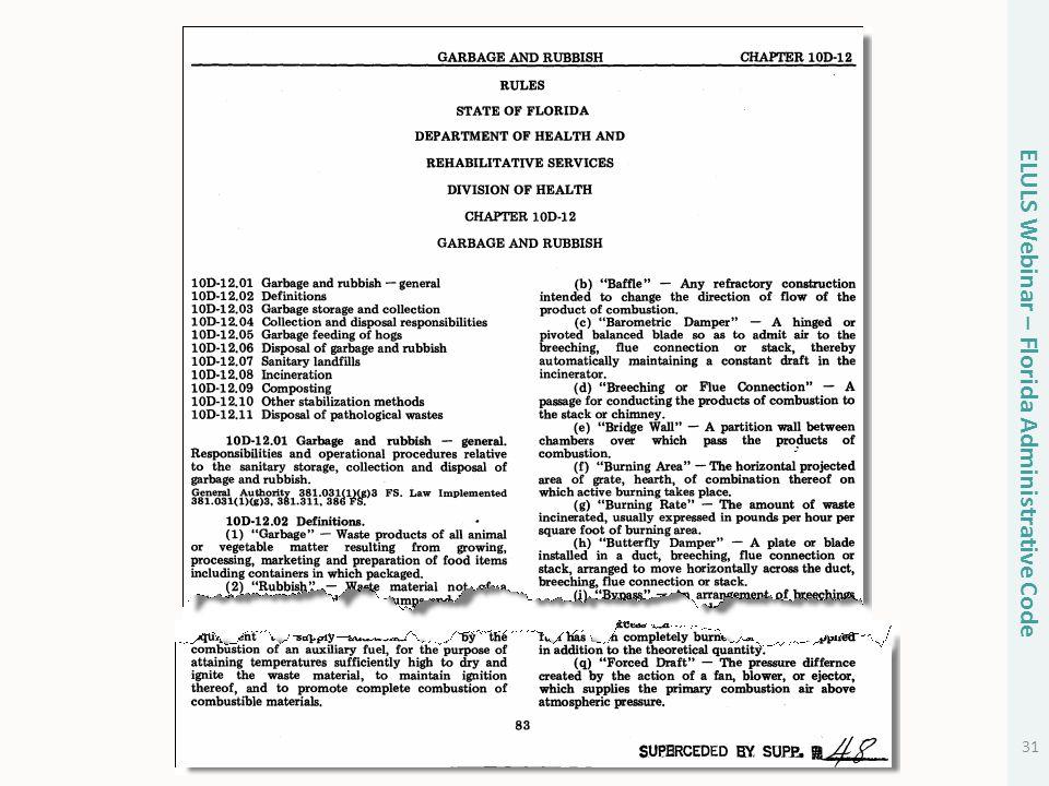 31 ELULS Webinar – Florida Administrative Code