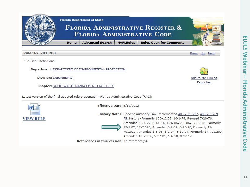 33 ELULS Webinar – Florida Administrative Code