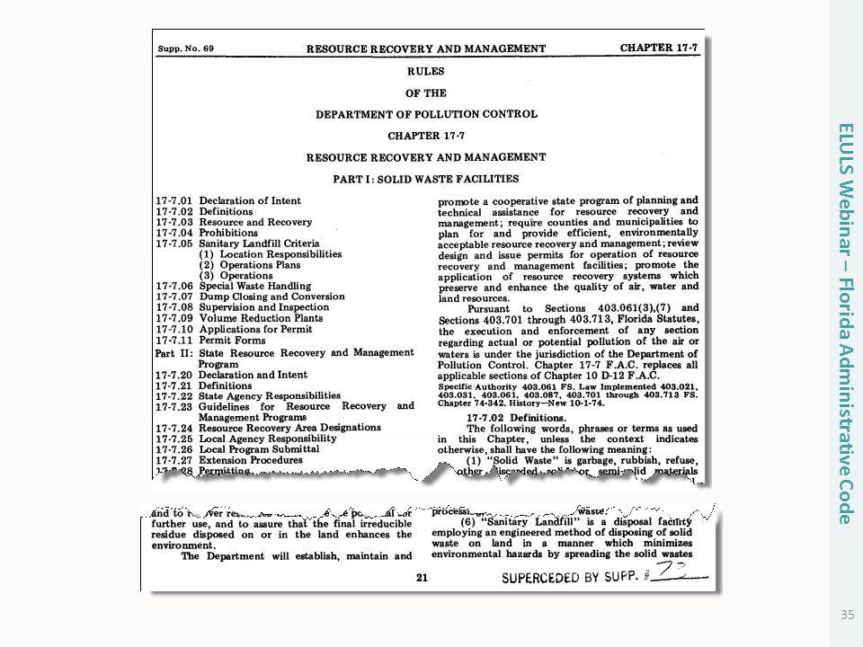 35 ELULS Webinar – Florida Administrative Code