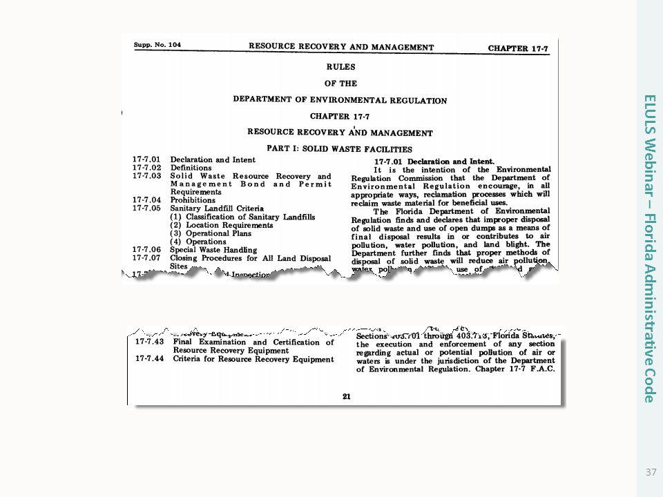 37 ELULS Webinar – Florida Administrative Code