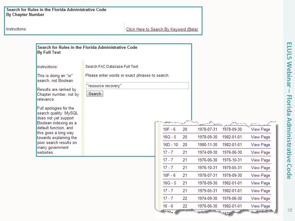 38 ELULS Webinar – Florida Administrative Code