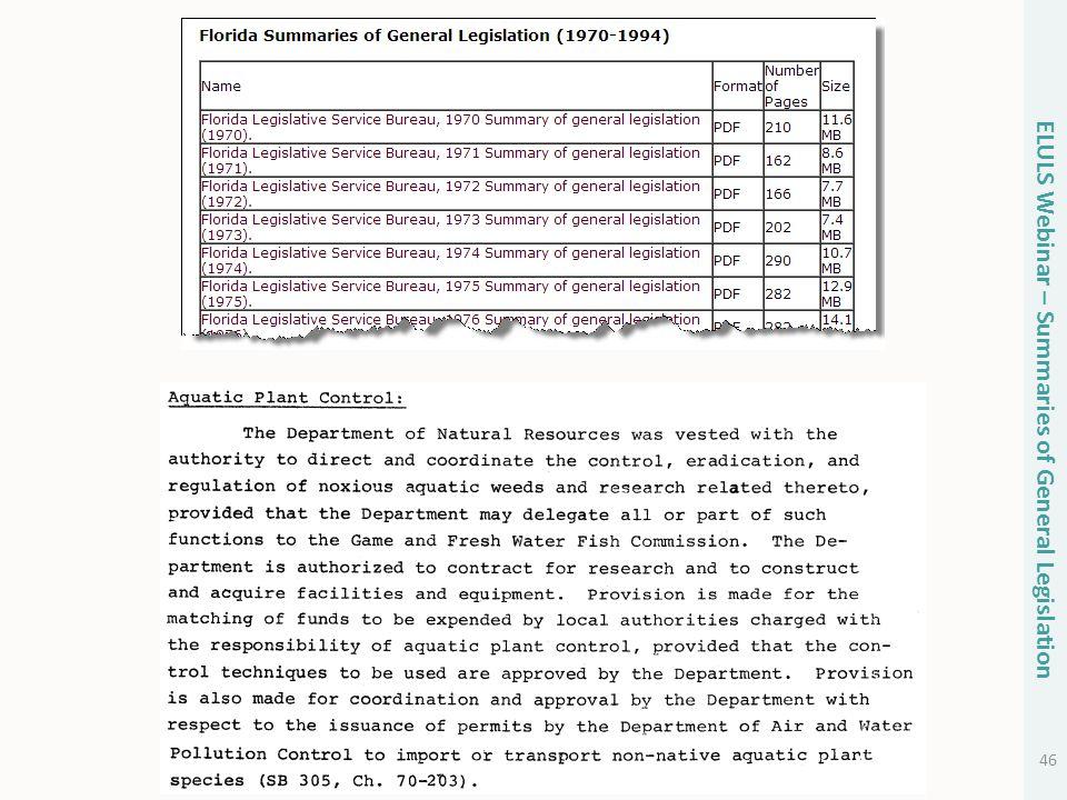 46 ELULS Webinar – Summaries of General Legislation