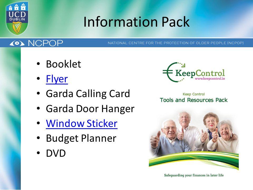 Information Pack Booklet Flyer Garda Calling Card Garda Door Hanger Window Sticker Budget Planner DVD
