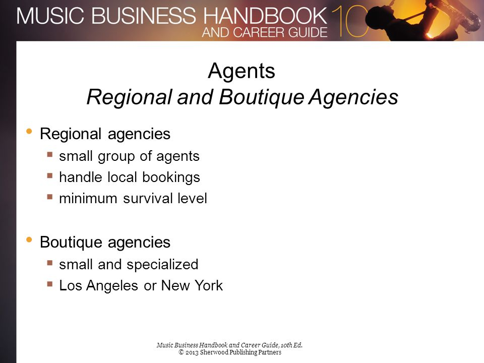 Agents Regional and Boutique Agencies Regional agencies  small group of agents  handle local bookings  minimum survival level Boutique agencies  s