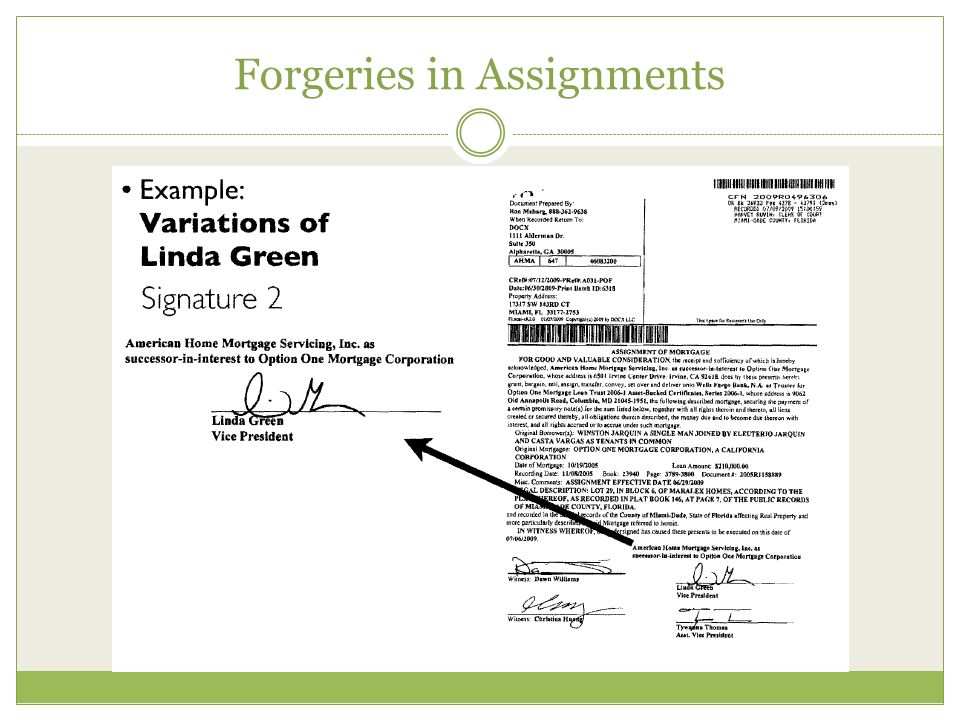 Forgeries in Assignments