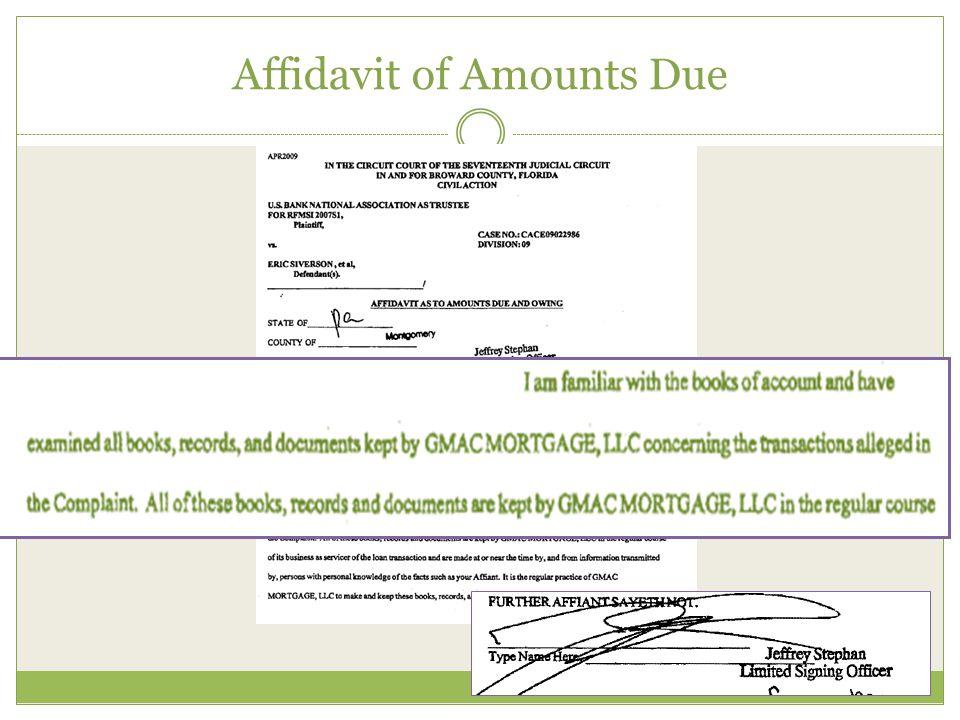 Affidavit of Amounts Due