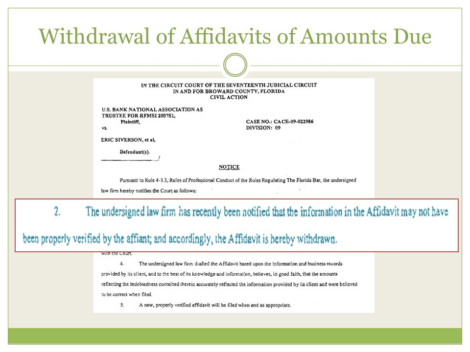 Withdrawal of Affidavits of Amounts Due
