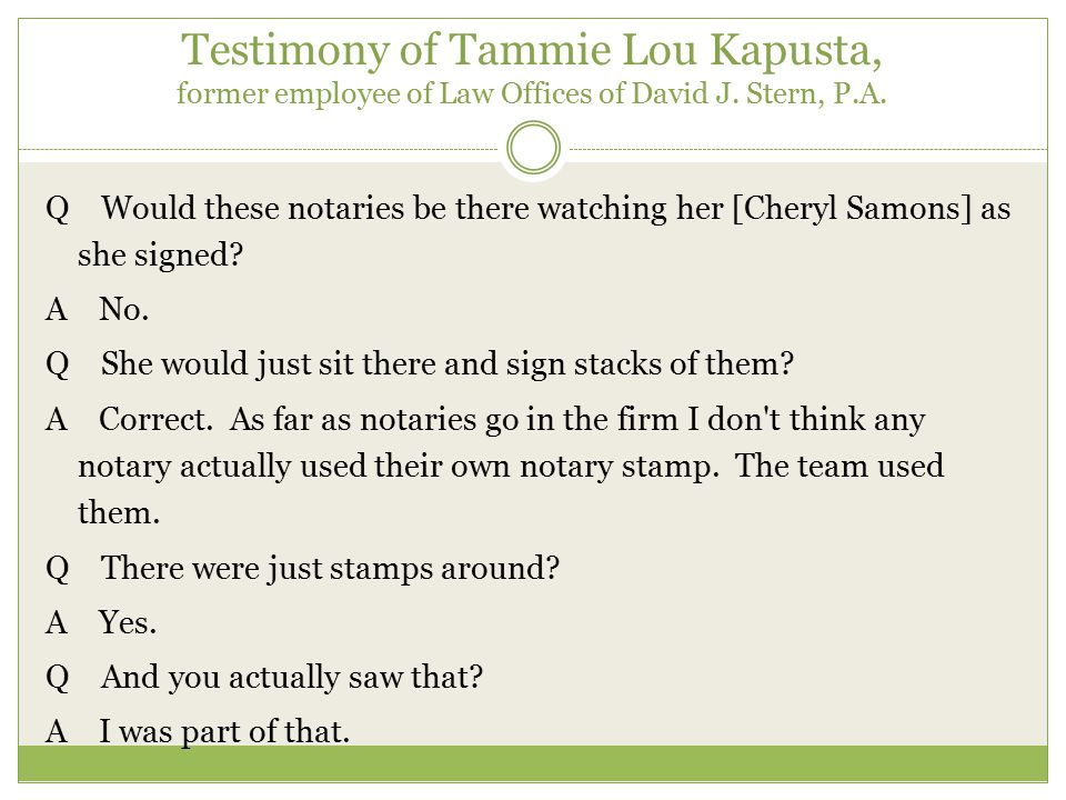 Sworn Testimony of Tammie Lou Kapusta