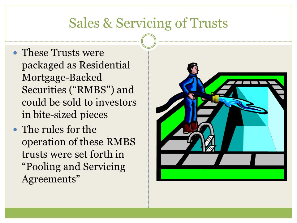 Mortgage-Backed Trusts As the mortgage industry grew, bankers began securing the notes in mortgage-backed trusts Trusts are a bundle of 5,000 notes secured by mortgages A bundle of notes may contain 5,000 notes and mortgages with a face value of $1.5 Billion