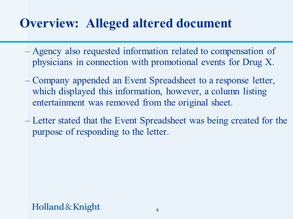 Overview: Alleged altered document –Agency also requested information related to compensation of physicians in connection with promotional events for Drug X.