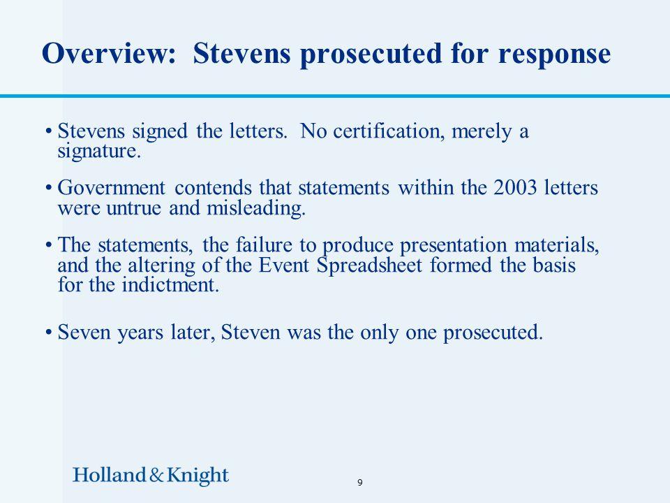 Overview: Stevens prosecuted for response Stevens signed the letters.