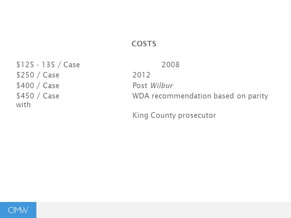 COSTS $125 - 135 / Case2008 $250 / Case2012 $400 / CasePost Wilbur $450 / CaseWDA recommendation based on parity with King County prosecutor