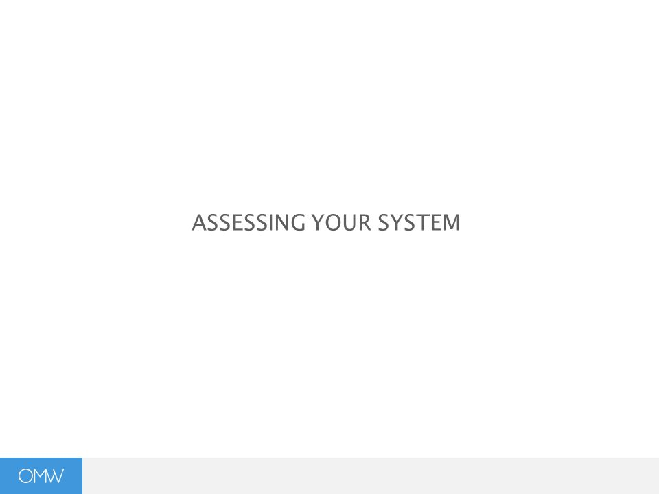 ASSESSING YOUR SYSTEM