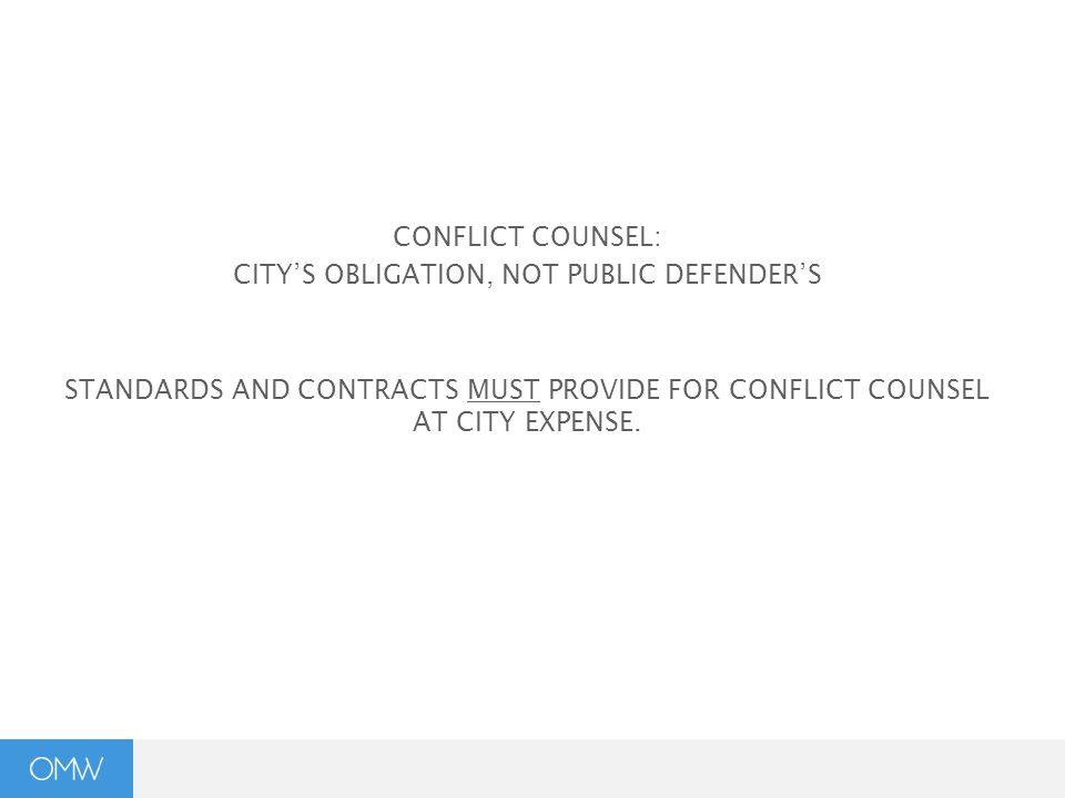 CONFLICT COUNSEL: CITY'S OBLIGATION, NOT PUBLIC DEFENDER'S STANDARDS AND CONTRACTS MUST PROVIDE FOR CONFLICT COUNSEL AT CITY EXPENSE.