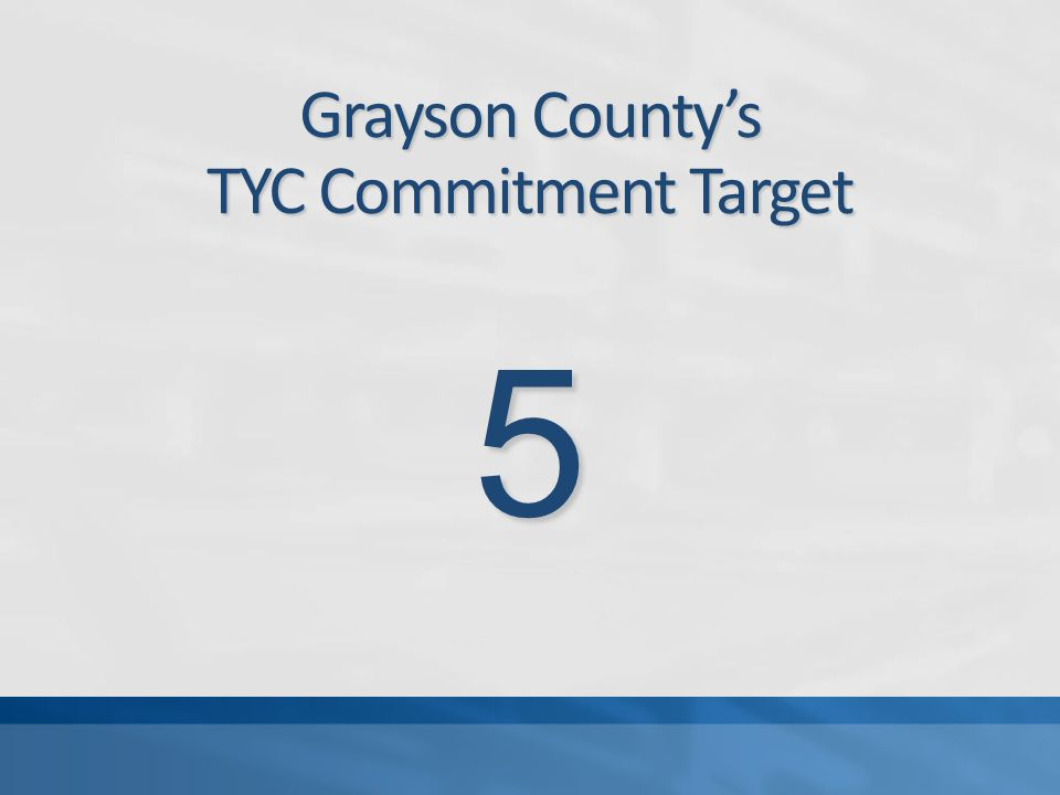 Grayson County's TYC Commitment Target 5