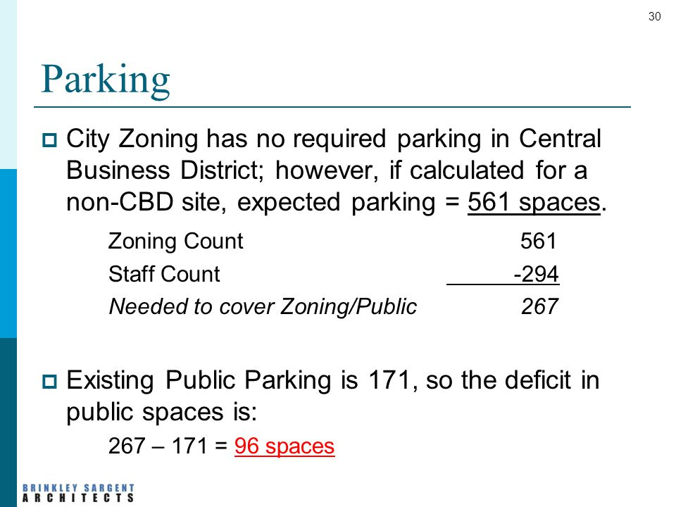 30 Parking  City Zoning has no required parking in Central Business District; however, if calculated for a non-CBD site, expected parking = 561 spaces.