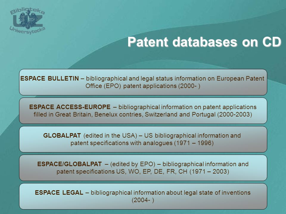 Patent databases on CD ESPACE BULLETIN – bibliographical and legal status information on European Patent Office (EPO) patent applications (2000- ) ESPACE ACCESS-EUROPE – bibliographical information on patent applications filled in Great Britain, Benelux contries, Switzerland and Portugal (2000-2003) GLOBALPAT (edited in the USA) – US bibliographical information and patent specifications with analogues (1971 – 1996) ESPACE/GLOBALPAT – (edited by EPO) – bibliographical information and patent specifications US, WO, EP, DE, FR, CH (1971 – 2003) ESPACE LEGAL – bibliographical information about legal state of inventions (2004- )