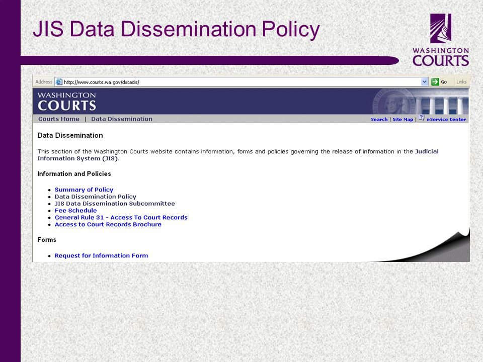 c JIS Data Dissemination Policy